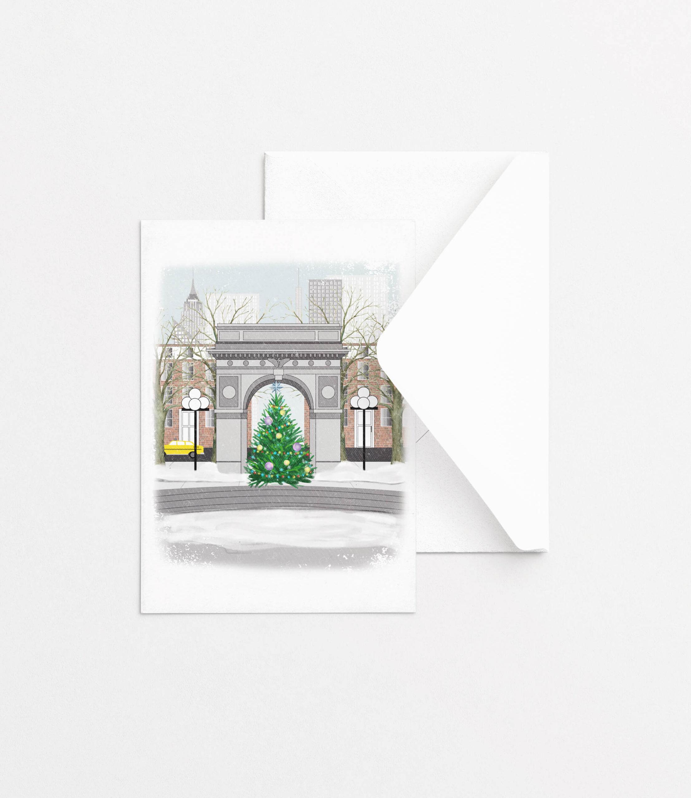 Notecard Set - Christmas in New York - Fox Burrow Designs